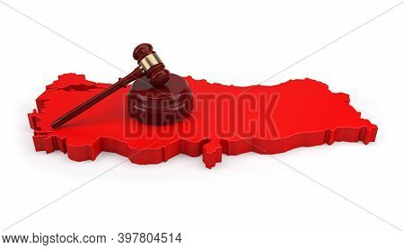 Turkey Justice Concept. Wooden Justice Gavel With Soundboard Over Turkey Map With White Background.