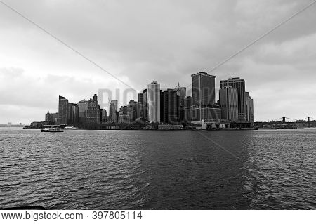 Views Of The Iconic Buildings Of Manhattan, New York, From The Staten Island Ferry. Black And White