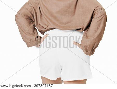 Size inclusive women's fashion white shorts mockup facing back