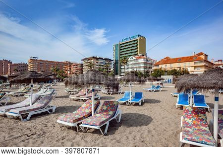 FUENGIROLA, SPAIN - september 22, 2008 Emty Beach in Fuengirola, Costa del Sol, Province of Malaga, Andalusia Spain
