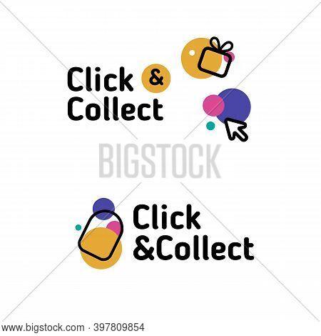 Colorful Pointer Badge Icon. Click Vector Store Label. Modern E-commerce
