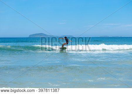 Geriba Beach, Buzios, Rio De Janeiro, Brazil - December 22, 2019: Surf In South Atlantic Coast. Isol