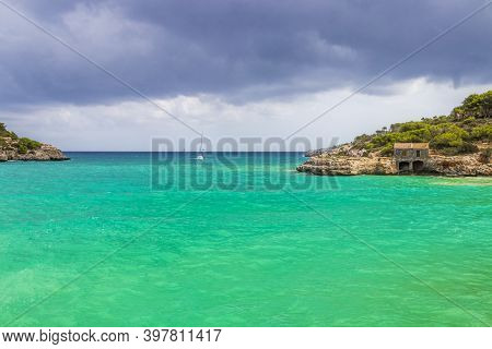 Turquoise Beach Bay Cala Samarador Amarador Mallorca Balearic Islands Spain.