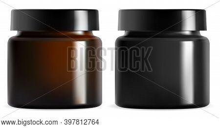 Cream Jar. Black Plastic Cosmetic Packaging Mockup. Isolated Brown Glass Container Vector Blank. Rea