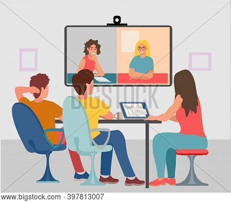 Video Conferencing. Office Technical Needs. Men And Women Participate In Video Conferencing. Busines