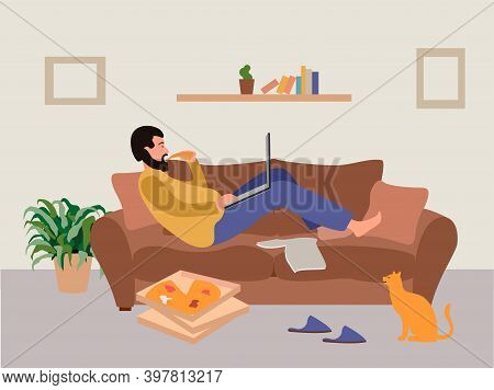 Disadvantages Of Remote Work. Freelancer Works Lying On The Couch, Eating Pizza. Remote Work Problem