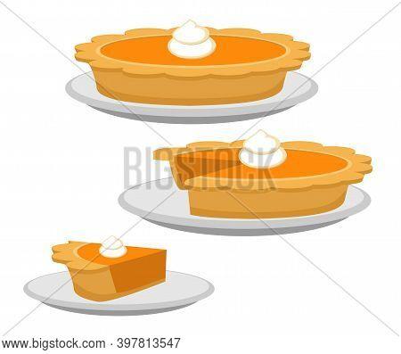 Pumpkin Or Sweet Potato Pie, Whole And Slice. Traditional American Thanksgiving Dessert. Illustratio