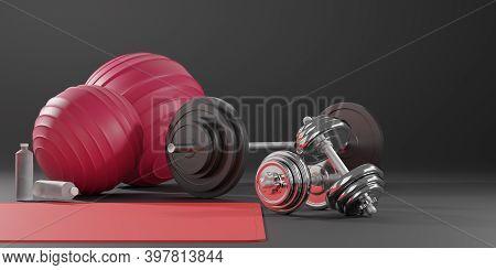 Sport Fitness Equipment, Yoga Mat,  Fitness Ball, Bottle Of Water, Dumbbells And Barbell On Black Ba