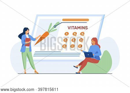 Women Studying Vitamins In Organic Food. Nutritionist Presenting Fresh Vegetable On Screen Flat Vect
