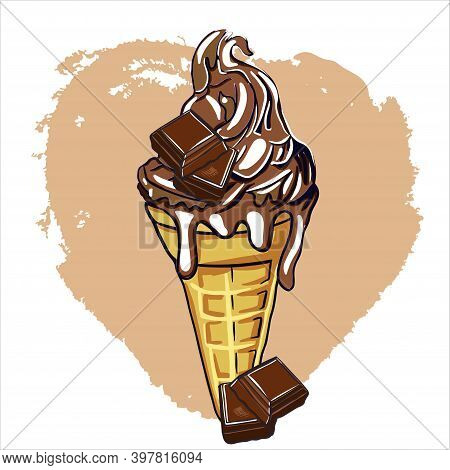 Ice Cream With Waffle Cone And Chocolate Flavor. Decorate The Dessert With Chocolate Pieces. Cartoon