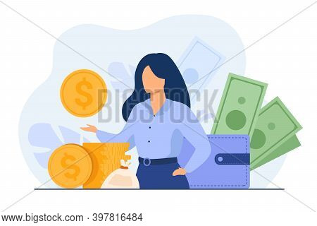 Banker Offering Loan. Investor Or Entrepreneur Getting Income. Woman With Heap Of Cash, Sack And Wal