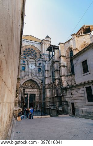 Toledo, Spain - October 13, 2017: Outdoor View Of Side Entrance To Cathedral Of Toledo. The Cathedra