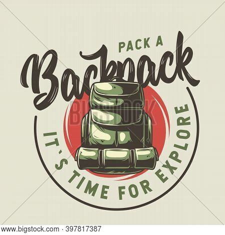 Backpack For Camping And Travel Print Design
