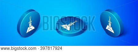 Isometric Sword In The Stone Icon Isolated On Blue Background. Excalibur The Sword In The Stone From