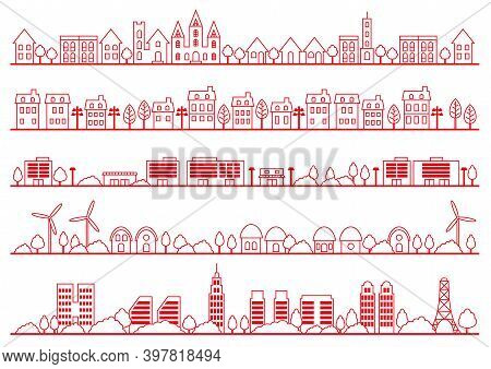 Set Of Simple Townscape Drawings Isolated On A White Background. Vector Illustration.