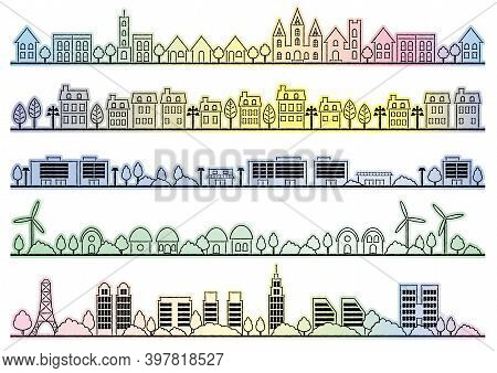 Simple Townscape Drawings Set Isolated On A White Background. Vector Illustration.