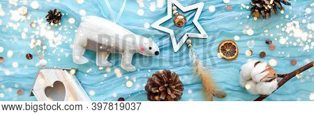 Top View Christmas New Year Banner On Trendy Blue Turquoise Gauze. Festive Backdrop. Holiday Eco Rus