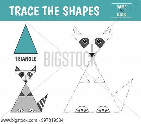 Learn Geometric Shapes - Triangle. Preschool Worksheet For Practicing Motor Skills. Raccoon Of Geome