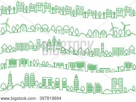 Set Of Seamless Simple Townscape Drawings Isolated On A White Background. Vector Illustration.