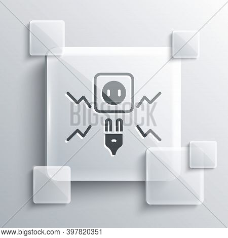 Grey Connecting Electric Plug With Electricity Spark Icon Isolated On Grey Background. Square Glass