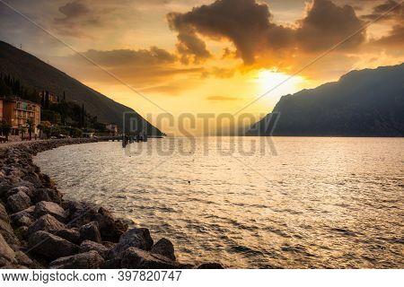 Beautiful Garda lake at sunset, northern Italy