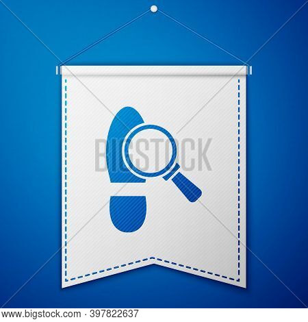 Blue Magnifying Glass With Footsteps Icon Isolated On Blue Background. Detective Is Investigating. T