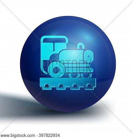 Blue Vintage Locomotive Icon Isolated On White Background. Steam Locomotive. Blue Circle Button. Vec