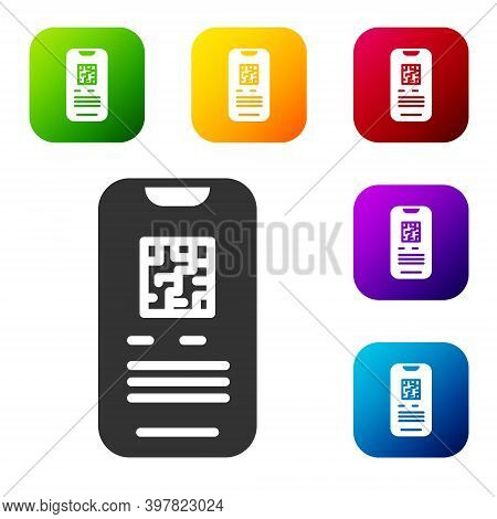 Black Online Ticket Booking And Buying App Interface Icon Isolated On White Background. E-tickets Or