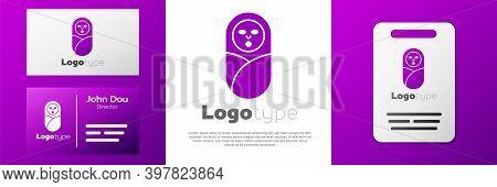 Logotype Newborn Baby Infant Swaddled Or Swaddling Icon Isolated On White Background. Baby Kid Child