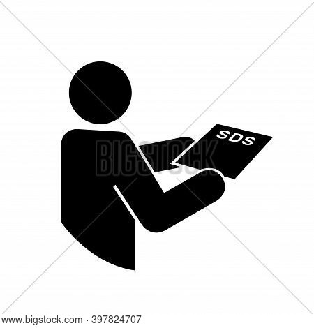 Consult Sds Sheet Black Icon, Vector Illustration, Isolate On White Background Label. Eps10
