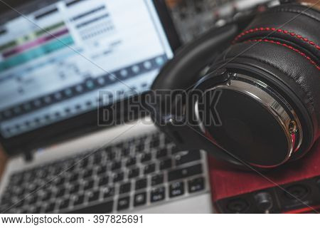 Headphone And Sound Card In Recording Studio.