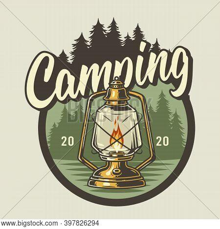 Kerosene Lamp Print For Camping Outdoor Trip