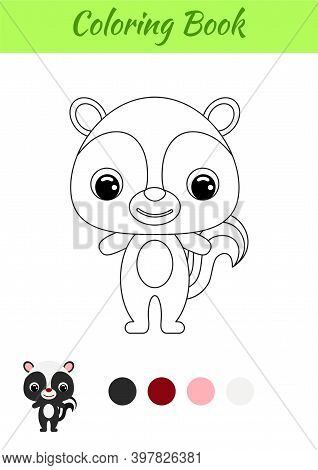 Coloring Book Little Baby Skunk. Coloring Page For Kids. Educational Activity For Preschool Years Ki