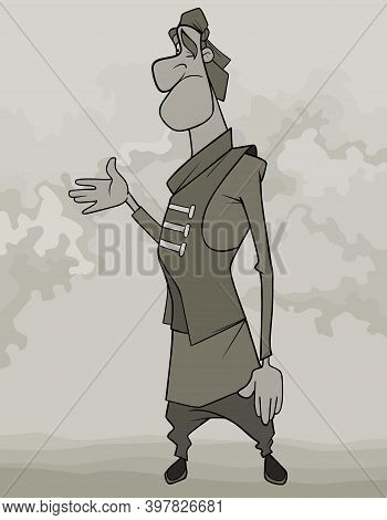 Cartoon Puzzled Man In Bandana Waved His Hand To The Side In Frustration. Image Is Monochrome
