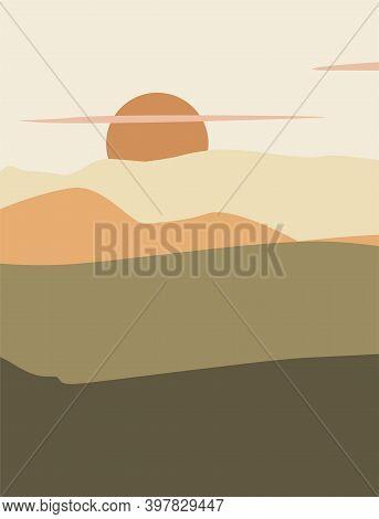 aesthetic background with landscape, mountains, Sun. Earth tones, burnt orange, terracotta colors. Mid century modern minimalist art print.
