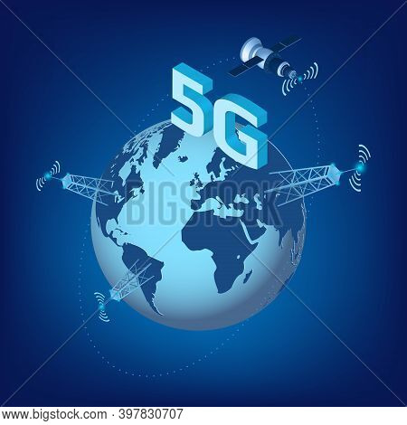 5g Lte Technology Of High Speed Data Transmission With Isometric Satellite Flying Around The Planet