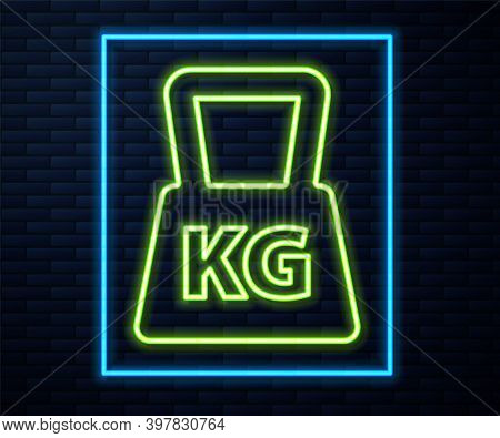 Glowing Neon Line Weight Icon Isolated On Brick Wall Background. Kilogram Weight Block For Weight Li