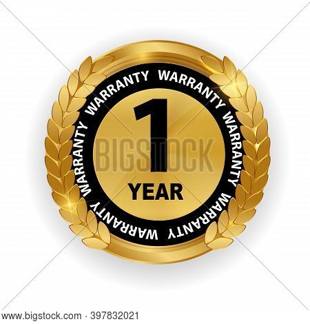 Gold Guarantee Sign, 1 Year Warranty Label On White
