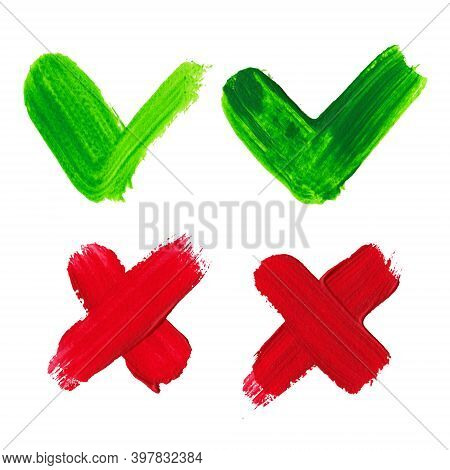 Set With Hand-painted Ok And Cancel Signs Icons Strokes And Textures On A White Background