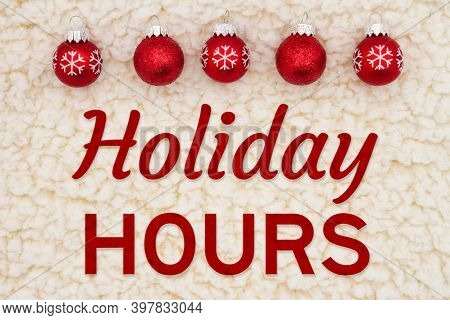 Holiday Hours With Christmas Red Snowflake Ornaments On Beige Sherpa