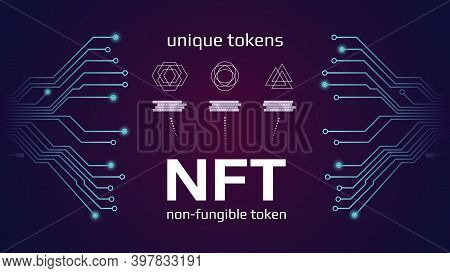 Nft Nonfungible Tokens Infographics With Pcb Tracks On Dark Background. Pay For Unique Collectibles