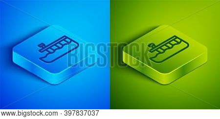 Isometric Line Beach Pier Dock Icon Isolated On Blue And Green Background. Square Button. Vector