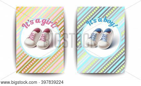 Vector Baby Boy And Girl Poster Set, Invitation Card In Cute Pastel Colors. Festive Baby Arrival Or