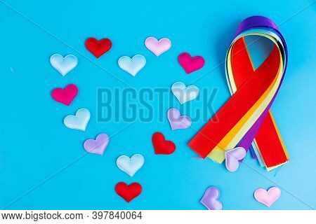 Colorful Ribbons In The Form Of A Bow As A Symbol Of Disease Awareness. World Cancer Day. National C