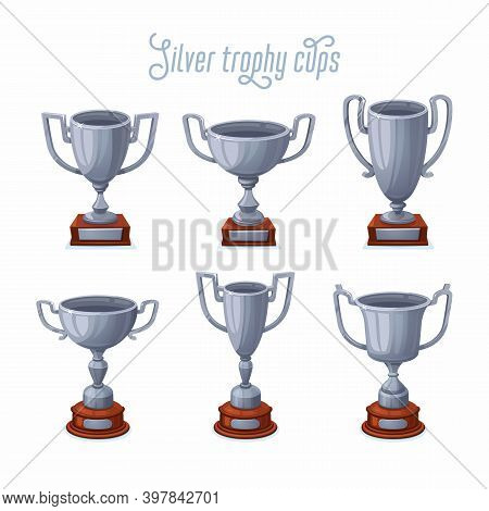 Silver Trophy Cups. Silver Award Cup Set With Different Shapes - 2nd Place Winner Trophies