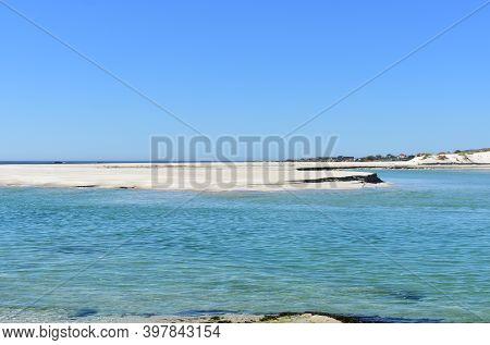 Famous Carnota Beach Or Praia De Carnota At Rias Baixas Region. Coruña, Galicia, Spain.