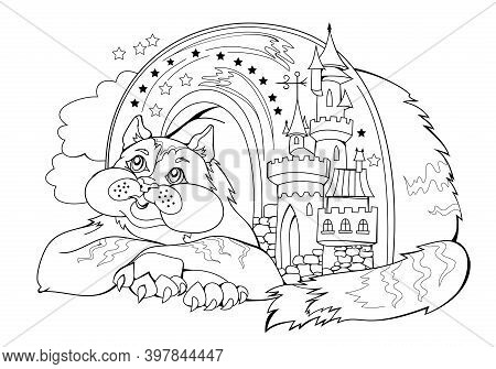 Black And White Page For Baby Coloring Book. Illustration Of Cute Dreamy Fairyland Cat. Printable Te