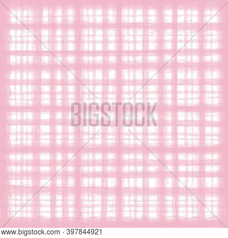 Delicate Light Pink White Pastel Vintage Checkered Background. Space For Graphic Design. Checkered T