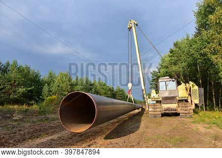 Lng Pipeline Construction Project For Global Exports Of Natural Gas. Building Of Transit Petrochemic
