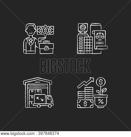Commercial Business Chalk White Icons Set On Black Background. Trading And Financial Services. Busin